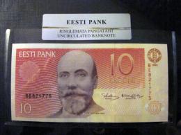 Estland Estonia 10 Krooni 1992 Banknote UNC In Official Bank Holder Of Estonian Bank BE821775 - Estonia