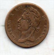 CHARLES X Roi De France,tête Laurée à Gauche,au Dessous N.TIOLIER.5 Cent.Colonies Françaises.1828 A.couronne D´olivier. - Colonies