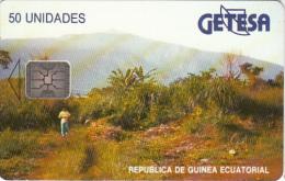 EQUATORIAL GUINEA - Landscape, Chip SC4(reverse A), Used