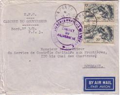 TAHITI - PAPEETE - ENVELOPPE DU CABINET DU GOUVERNEUR - LETTRE POUR LA FRANCE LE 13-1-1950.. - Tahiti (1882-1915)