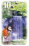 BAHAMAS $10 WOMAN & MAN AT THE WATERFALL CHIP BAH-C17  READ DESCRIPTION !!