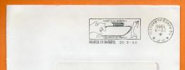 59 MARCQ EN BAROEUL  HIPPODROME    ( Cachet Inversé )  28 / 9 / 1990 Lettre Coupée N° R 555 - Postmark Collection (Covers)