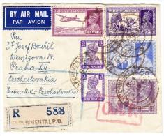 Indien 5.2.1946 Experimental P.O. Flugpost R-Brief O.A.T. Nach Praha Tschekoslowakei - Poste Aérienne