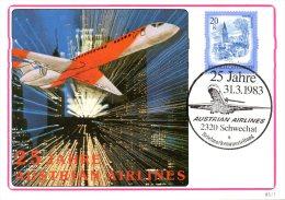 AUTRICHE. Carte De 1983. 25 Ans D'Austria Airlines. - Avions