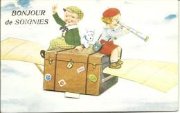Soignies - Bonjour De Soignies - Carte à Système - Très Belle Carte Avec Enfants Et Petit Chien - Circulé: 1908 - Soignies