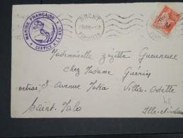 FRANCE - LETTRE DE BREST POUR ST MALO EN 1936 AFF TIMBRE F.M.   A VOIR  LOT P2388 - Posta Marittima
