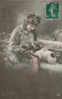"""FEMMES - FRAU - LADY - DOG - Jolie Carte Fantaisie Portrait Femme Et Chien De """"Bonne Année"""" - Chiens"""