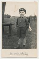 Altes Kinderfoto - Mein Erster Schultag - Junge Mit Schulranzen  -   ( 52 ) - Anonymous Persons