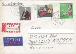 14119- O. WARBURG, H. KOLLE PAINTING, S. HERBERGER- SOCCER , STAMPS ON REGISTERED COVER, 1997, GERMANY - Storia Postale