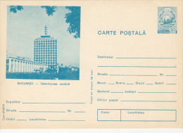 14278- BUCHAREST- NATIONAL TELEVISION, POSTCARD STATIONERY, 1974, ROMANIA - Entiers Postaux
