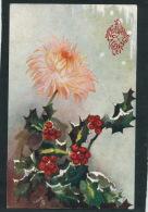 """FLEURS - Jolie Carte Fantaisie HOUX  De """"Meilleurs Voeux"""" - OILETTE - Christmas Postcard 8454 - Nouvel An"""