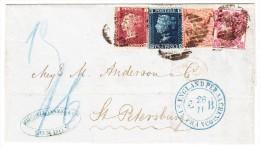 GB - 1864 Faltbrief Von London Nach St Petersburg Vierfarbenfrankatur 3d+4d Obere Ecke Defekt Mixed Franking - 1840-1901 (Victoria)