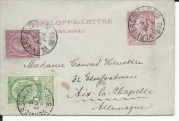 BELGIQUE - 1893 - ENVELOPPE-LETTRE ENTIER De VERVIERS Pour AACHEN - Entiers Postaux