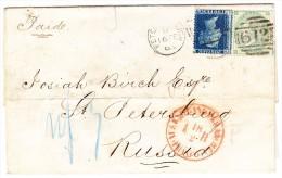 GB - 1863 Brief Von Peterborough Nach St Petersburg Mischfrankatur  Mixed Franking - Unclassified