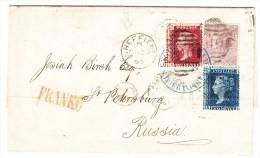 GB - 1865 Brief Mit Inhalt Von Sheffield Nach Russland Mischfrankatur Mixed Franking - Unclassified