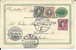 SUEDE - 1897 - CARTE ENTIER Avec RARE REPIQUAGE Au DOS HOTEL KRAMER De MALMÖ Avec CACHET MARITIME Pour AACHEN