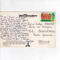 """Beau  Timbre  """" Fleurs , Hibiscus """" / Carte , Postcard  Pour La France - Bahamas (1973-...)"""
