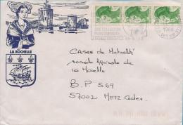 17 - Flamme De LA ROCHELLE Sur Enveloppe Illustrée De La ROCHELLE, Timbres Marianne - Marcophilie (Lettres)