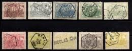 BelgienEisenbahn-Paketmarken, 2. Ausgabe 1882 Mi.N° 7 - 14 Gestempelt, Mit Dabei 10a+10b In Gelbgrün Bzw. Smaragdgrün - Bahnwesen