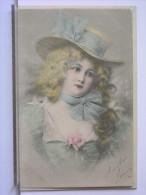 ILLUSTRATION - JEUNE FEMME - CHAPEAU - ROSE- 1901 - DOS SIMPLE - Women
