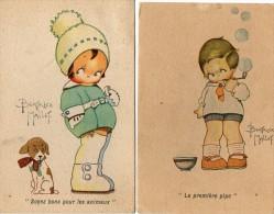 2 CARTES  D´ ENFANTS  -  Dessins De BEATRICE  MALLET  -  La Première Pipe  -  Soyez Bons Pour Les Animaux.  SAMARITAINE - Kinder-Zeichnungen