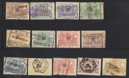 Eisenbahn Paketmarken Mi.N° 15 / 27 Kpl. Gestempelt, Ausgabe 1895/1902 Ziffernzeichnung Mit Zweisprachigen Text - Bahnwesen
