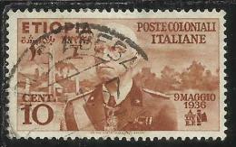 COLONIE ITALIANE ETIOPIA 1936 RE VITTORIO EMANUELE III CENT. 10  USATO USED OBLITERE´ - Eritrea