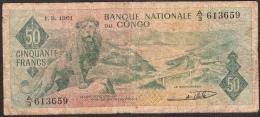 CONGO  P5  50  FRANCS  1.9.1961   FIRST DATE !  PREMIERE DATE !   FINE - Congo