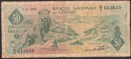 CONGO  P5  50  FRANCS  1.9.1961   FIRST DATE     FINE - Sin Clasificación