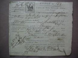 LA FERTE MILON AISNE CONGE N°563 DU 19 AOUT 1808 DROITS REUNIS CINQ CENTIMES BOISSON VIN - Manuscrits