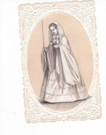 Superbe  Canivet  Tbeg Communion En Gravure Enfant Lisant Son Missel 1868 Edi Dopter Ovale Gauffré - Devotion Images