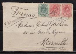 """CARTA CIRCULADA , OVIÉDO A MARSELLA ,  MATASELLOS  """"  AMB . ASC  1  ASTURIAS  """"  2 -  MAY - 16 - 1889-1931 Reino: Alfonso XIII"""