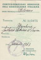 PALERMO  - CONFEDERAZIONE GEN. DELL'AGRICOLTURA ITALIANA   /   TESSERA   _ 1963 - Documents Historiques