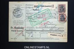 Germany    Paketkarte  Forst (Lausitz)   -> Zürich  1908 - Germania