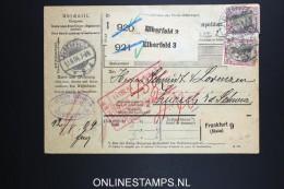 Germany    Paketkarte  Elberfeld   -> Zürich  1907