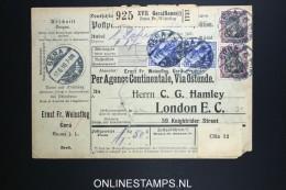 Germany    Paketkarte Gera To London 1910