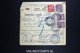 Germany    Paketkarte Gronau Hannover To Zagreb   1926