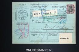 Germany   Paketkarte Zittau To Zürich 1910