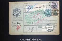 Germany  Paketkarte Frankfurt To Zürich Schweiz 1910