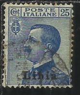 LIBIA 1912 - 1915 SOPRASTAMPATO D´ITALIA ITALY OVERPRINTED CENT. 25 USATO USED OBLITERE´ - Libya