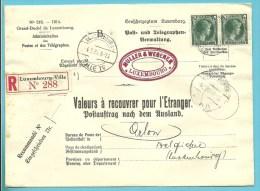 """224 op brief """"Admin. Postes /Telegraphes"""" aangetekend VALEURS A RECOUVRER POUR ETRANGER / POSTAUFTRAG stempel LUXEMBOURG"""