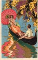 53Or   Illustrateur Art Déco Nouveau Jeune Femme à L'ombrelle Couple Amoureux Gondole - Ilustradores & Fotógrafos