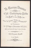 CANTERBURY, Kent - Dinner Club Vintage Illustrated Menu - 17th December 1900 - Non Classificati