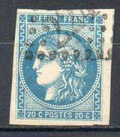 FRANCE - 1870-71 - Emission De Bordeaux - N° 46A - 20 C. Bleu (Report 1) (Oblitération : Losange Gros Chiffres) - 1870 Ausgabe Bordeaux