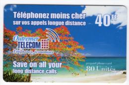 ANTILLES FRANCAISE OUTREMER TELECOM Ref MVCARD ANTF OT1 40 FF  1998 BRILLANT - Antilles (Françaises)