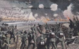 1916 D. Reich MILITARIA/FELDPOST, BESSERE PROPAGANDA-Karte: Beschiessung von Reims, gelaufen MK