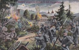 1915 D. Reich MILITARIA EF. BESSERE PROPAGANDA-Karte Kampf in den Karpathen. Neum�nster/Grande b Danenhof. MK