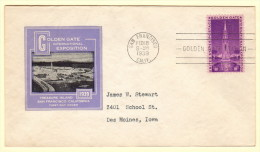 US SC #852 FDC 1939 Golden Gate Intl. EXPO (02-18-1939), CV $16.00 - First Day Covers (FDCs)