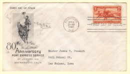 US SC #894 FDC  1940 Pony Express (04-03-1940) W/toning (fr Enclosure), CV $12.00 - First Day Covers (FDCs)