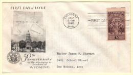 USA SC #897 FDC  1940 Wyoming Statehood (07-10-1940), CV $9.50 - First Day Covers (FDCs)